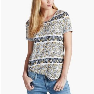Lucky Brand Linen Blend Floral Asymmetrical Top